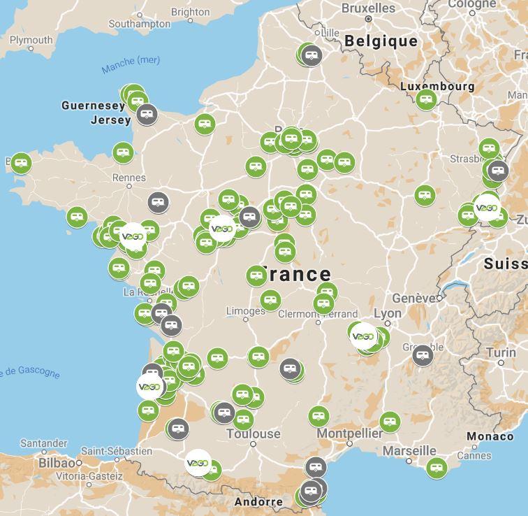 carte de France des aires d'accueil VAGO